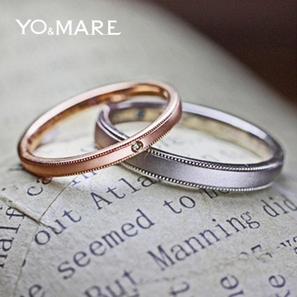 ピンクとグレーカラーの結婚指輪K18ゴールドコレクション
