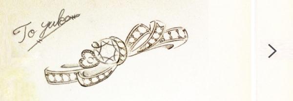 ダイヤモンドリボン・ ダイヤモンドをリボンで結んだ エンゲーリング・婚約指輪コレクションのデザイン画