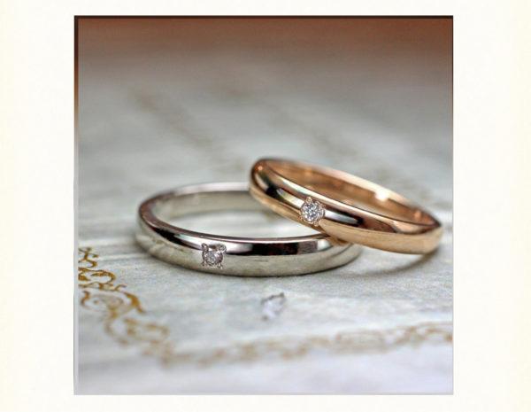 ピンクゴールドととホワイトゴールドのシンプル 結婚指輪