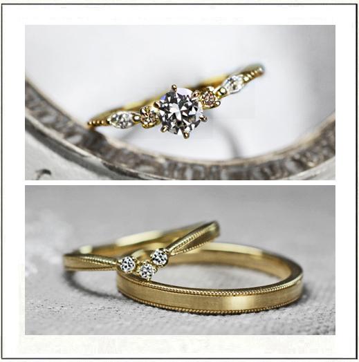 オルゴールをデザインしたアンティークゴールドの婚約指輪&結婚指輪