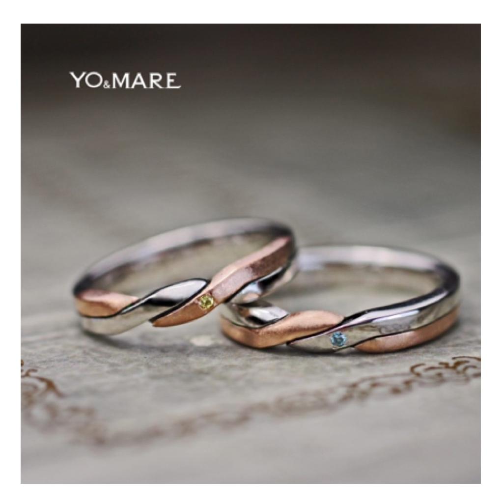 ネコの模様を結婚指輪の内側にいるた2色カラーコンビのオーダー作品