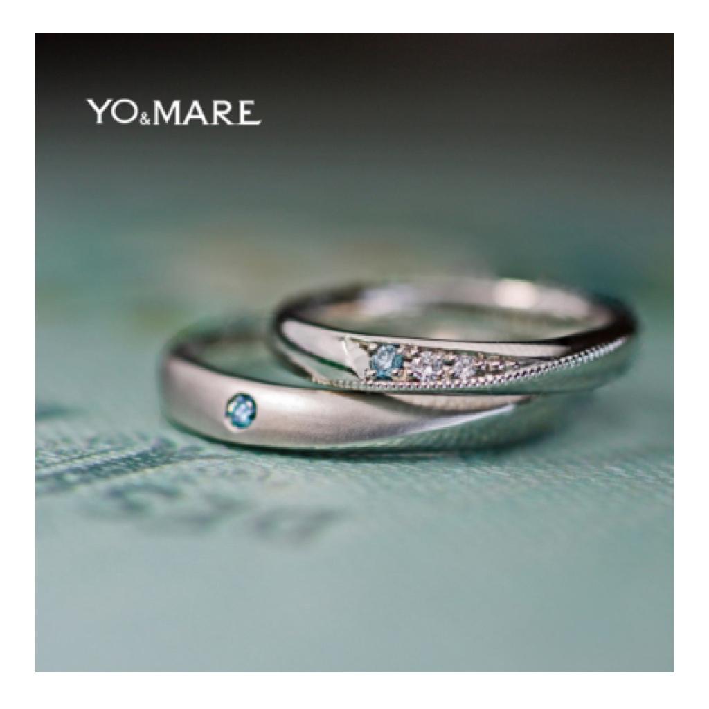 ブルーダイヤを同じ場所にペアで留めた結婚オーダーメイド作品 >>