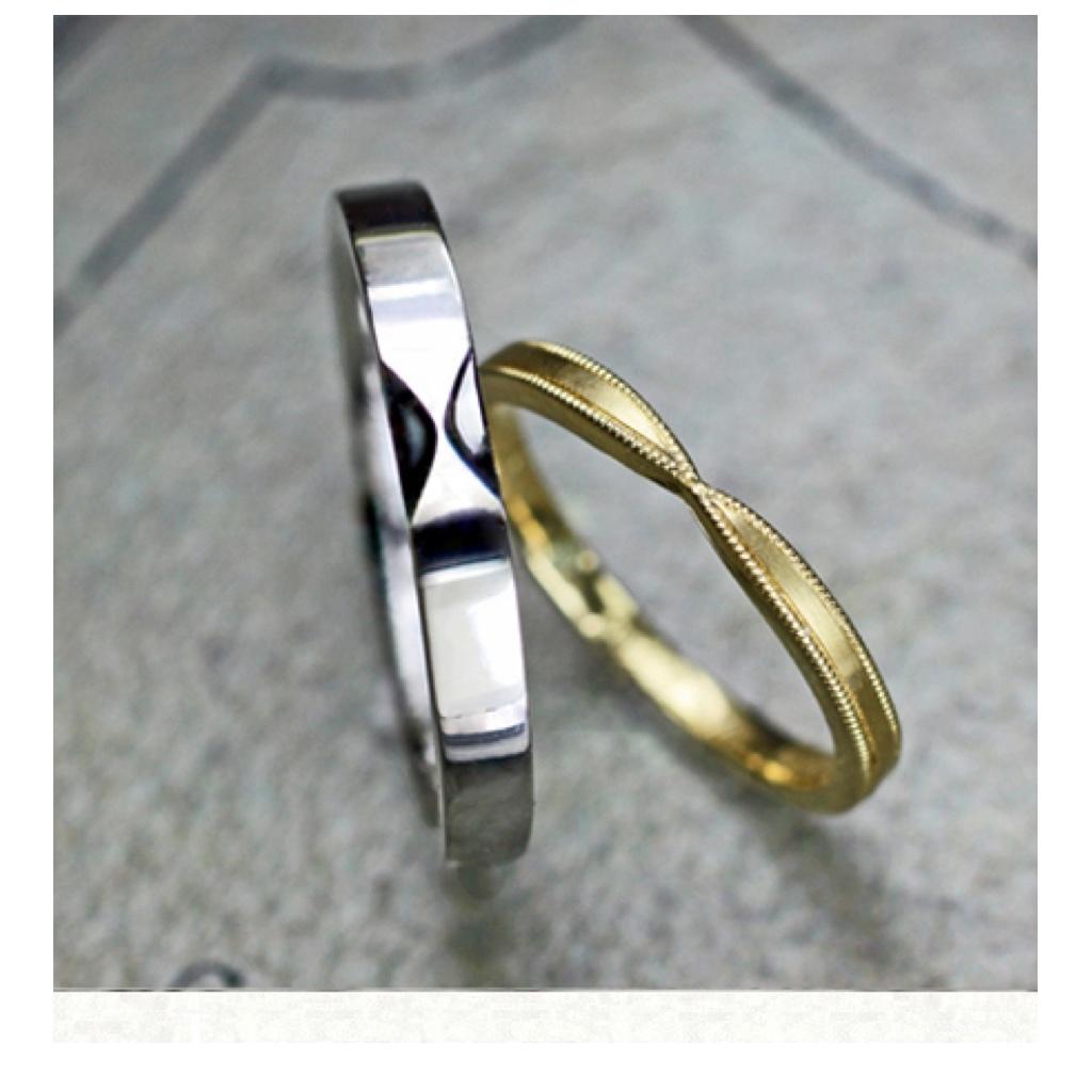 リボンデザインのペアの結婚指輪が完成です