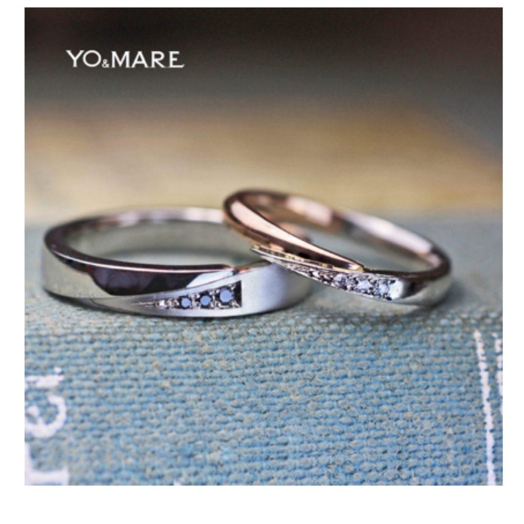 指をハグするブラックダイヤとピンクゴールドの結婚指輪オーダー作品 >>