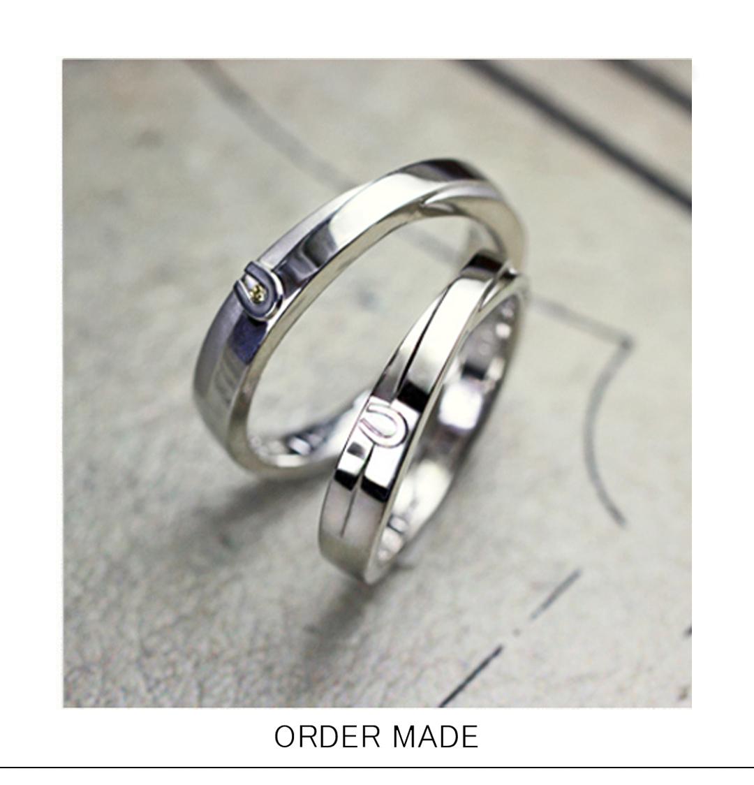 馬蹄マークを2重リングのデザインに入れたオーダーメイド結婚指輪のサムネイル