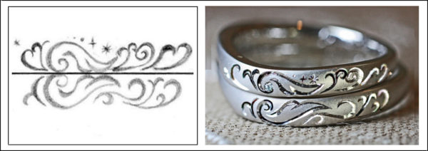 結婚指輪に入れたトライバル風エンジェルの羽のオーダー柄