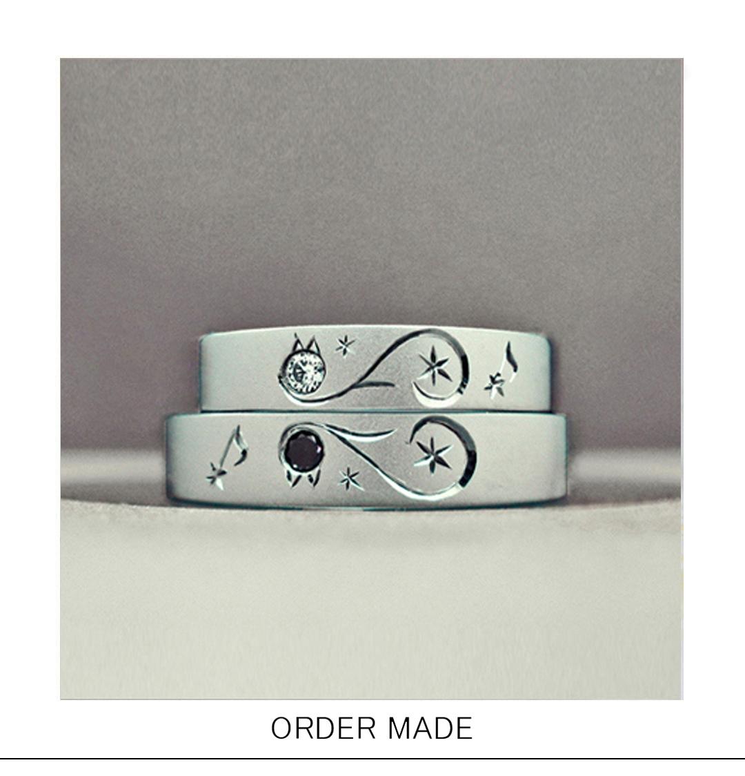 ブラック&ホワイトのネコがハートをつくる結婚指輪オーダー作品のサムネイル