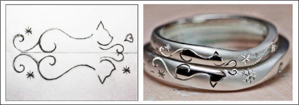 2本の結婚指輪を重ねて入れたネコのオーダー柄