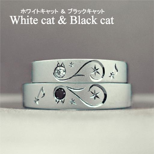 白ネコと黒ネコがハートを作った結婚指輪