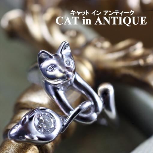 ネコの瞳にダイヤモンドが入ったエンゲージリング・婚約指輪オーダーメイド
