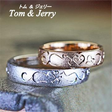 ネコの模様が一周入ったピンクゴールドの結婚指輪