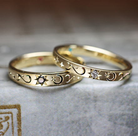 ダイヤモンドの太陽と月の模様の結婚指輪オーダーメイド・千葉 柏のカップル