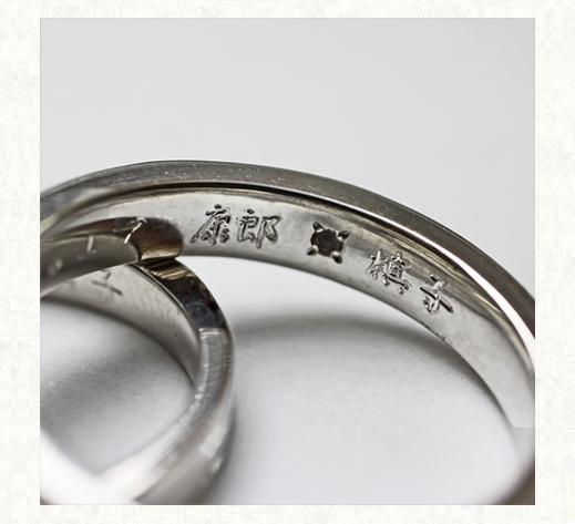 リングの内側に漢字で名前をいれて