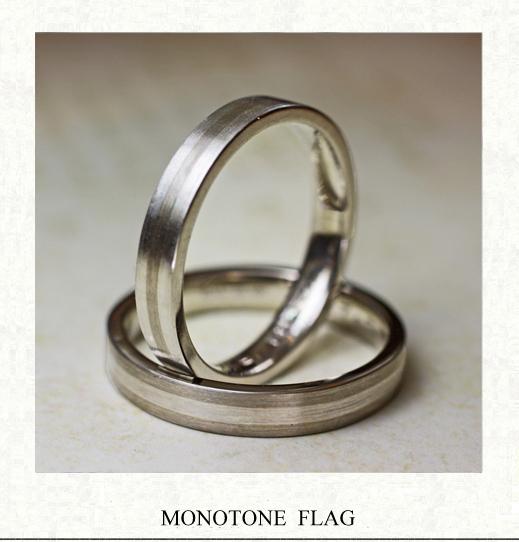 白いラインとグレーラインが 美しく並ぶモノトーンの結婚指輪 千葉・柏 ヨー&マーレ