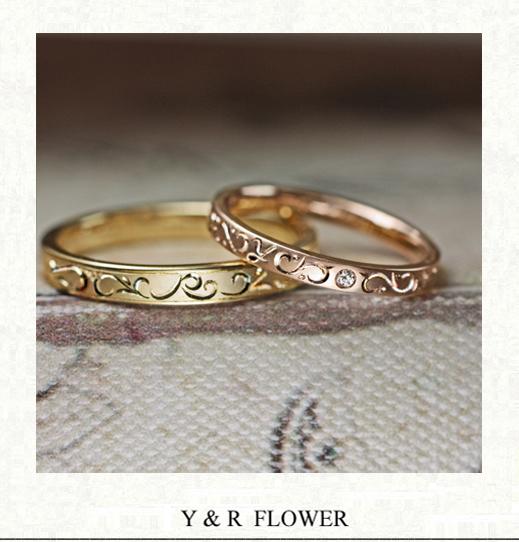 2つのイニシャルY&Rを花模様にデザインした結婚指輪オーダー作品