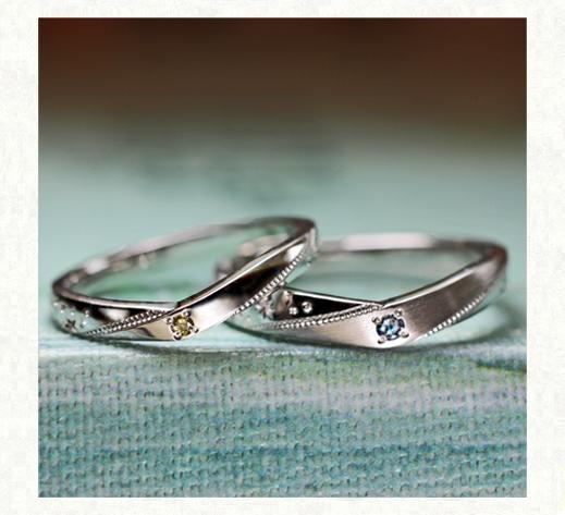 イエローダイヤとブルーダイヤの結婚指輪 千葉・柏 ヨー&マーレ