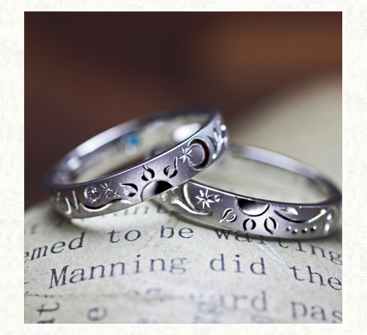 ふたりの結婚指輪で作る太陽が輝く模様のオーダーメイドリング