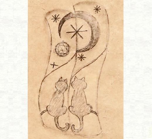 2本の結婚指輪に夜空の月が浮かぶ ネコのカップルのリングのデザイン画3・千葉・柏 ヨー&マーレ