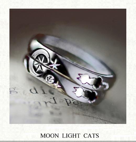 2本の結婚指輪に夜空の月が浮かぶ ネコのカップルのリング・千葉・柏 ヨー&マーレ