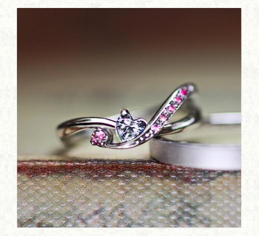 ハートダイヤ&ピンクグラデーションのオーダーメイド婚約指輪