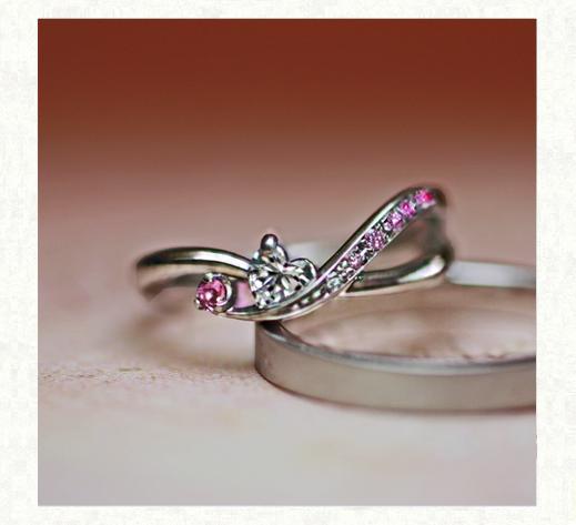 ハートダイヤ&ピンクグラデーションのオーダーメイド婚約指輪 2