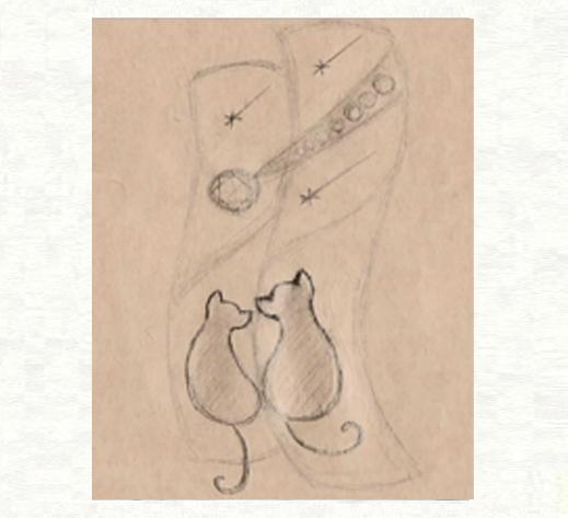 ブルーダイヤの流れ星とネコたちの結婚指輪のデザイン画1|千葉・柏 ヨー&マーレ