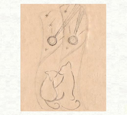 ブルーダイヤの流れ星とネコたちの結婚指輪のデザイン画3|千葉・柏 ヨー&マーレ