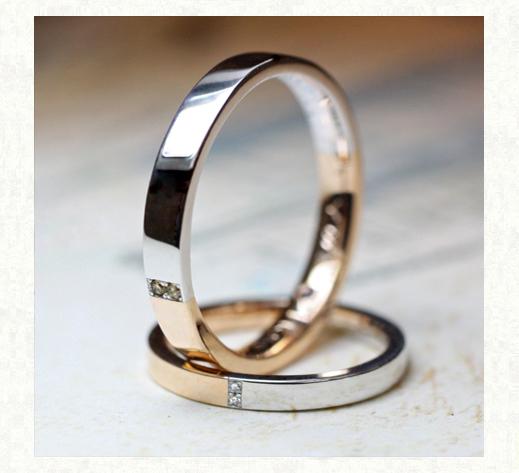 ピンクゴールドとプラチナがハーフでつながる結婚指輪コレクション