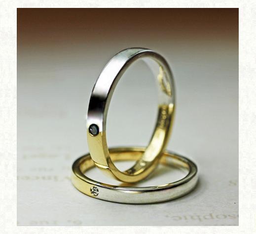ゴールドとプラチナをセンターで繋いだ オーダーメイドの結婚指輪