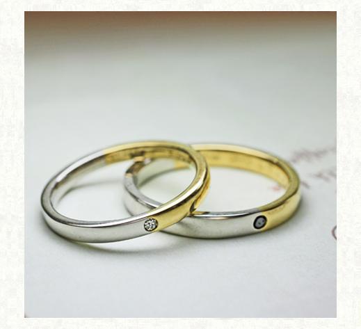 ゴールドとプラチナをセンターで繋いだ オーダーメイドの結婚指輪 2