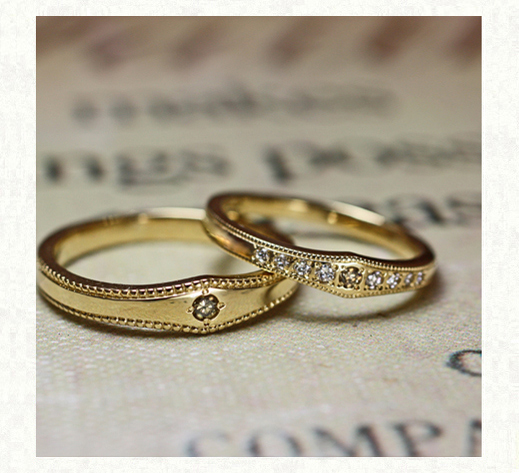 ブラウンダイヤをアレンジした結婚指輪 ヴィンテージ