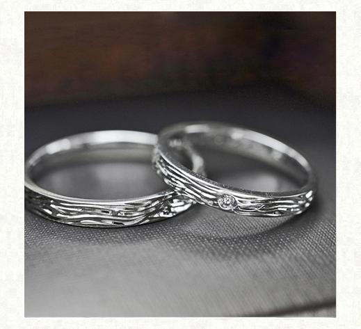 トラの縞模様をデザインした Pt950の結婚指輪2|千葉・柏 ヨー&マーレ