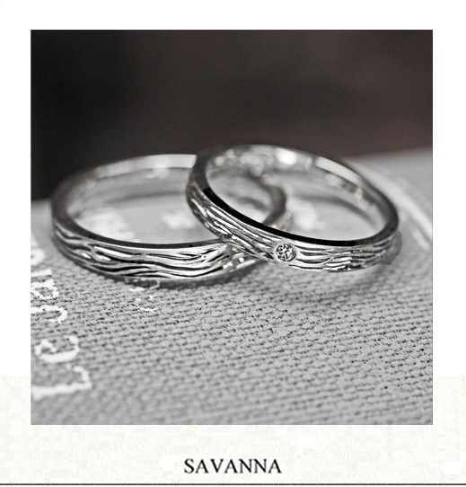 トラの縞模様をデザインした Pt950の結婚指輪|千葉・柏 ヨー&マーレ