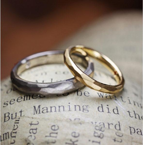 氷の表面テクスチャーのゴールド結婚指輪|千葉・柏 ヨー&マーレ