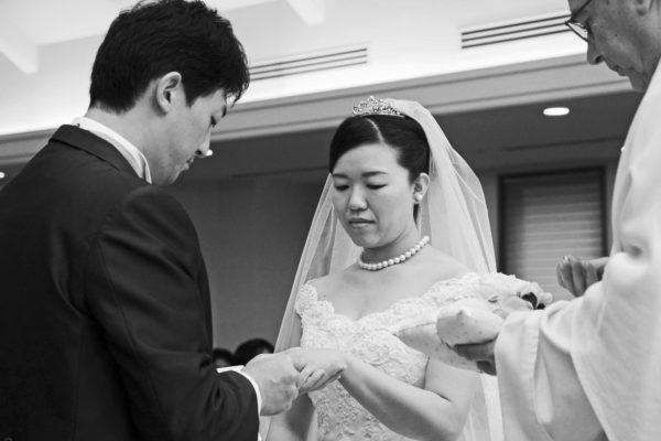 聖なる青いダイヤモンドの結婚指輪で 挙式に臨んだクリスチャンの二人  M様・千葉 柏