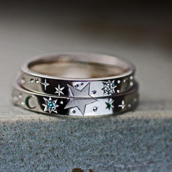 星の模様を結婚指輪を重ねてつくる  千葉・柏 ヨーアンドマーレ