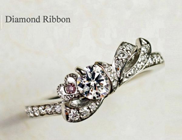 H様 千葉・柏本店でつくったダイヤモンドのリボンの婚約指輪