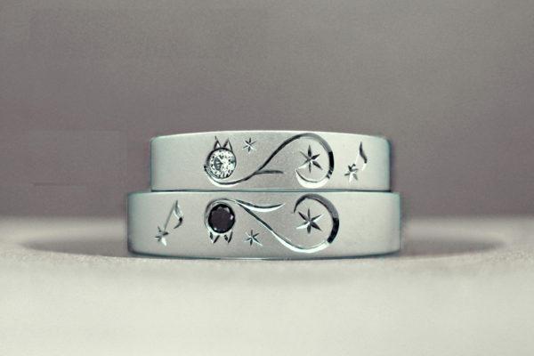 模様の様なネコのっ結婚指輪デザイン