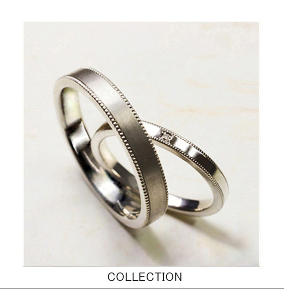 リングの両サイドにミルラインの入った シンプルな結婚指輪