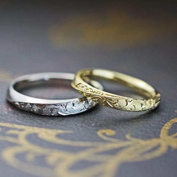 ゴールドのメビウスリングにハワイアン柄を入れた結婚指輪オーダーメイドの意欲作