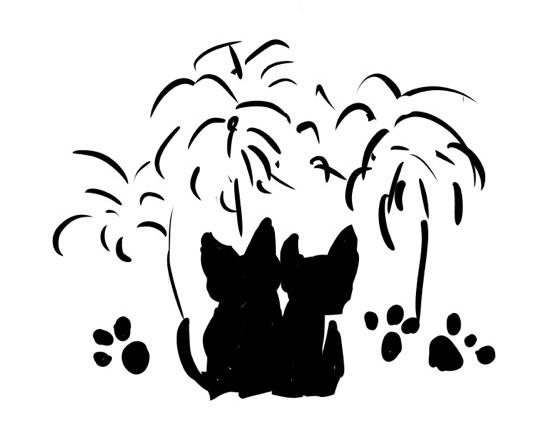 ネコのカップルのデッサン画
