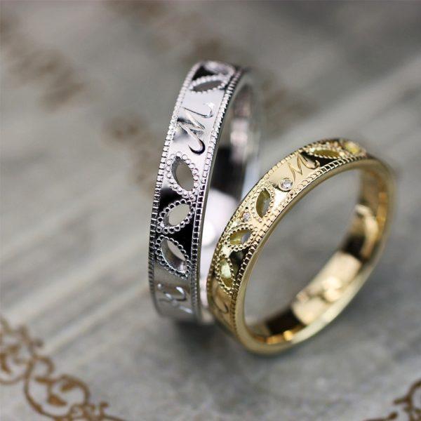 ミルグレインでデザインしたリーフ(葉)模様の結婚指輪オーダーメイド