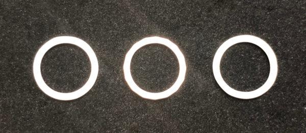 六角形のピンクゴールドがプラチナにサンドされたオーダー結婚指輪の製作過程 2