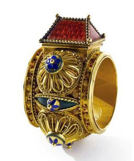 18世紀 ユダヤ人の結婚指輪、金とエナメル