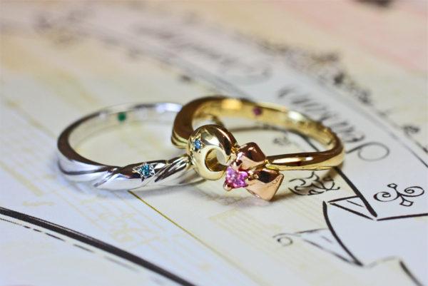 リボンと月のデザインで結婚指輪をオーダーメイド