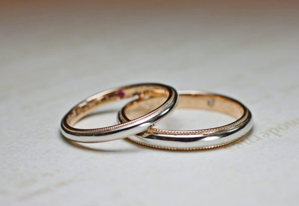 ピンクゴールドとプラチナのコンビ・結婚指輪