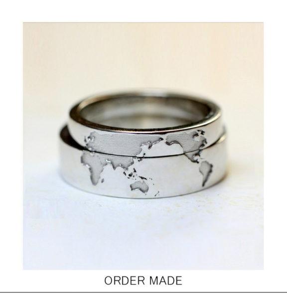 アクロス ザ ユニバース・2本重ねて世界地図をつくるオーダーメイドの結婚指輪