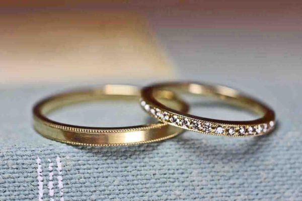 ダイヤエタニティのK18結婚指輪のペア