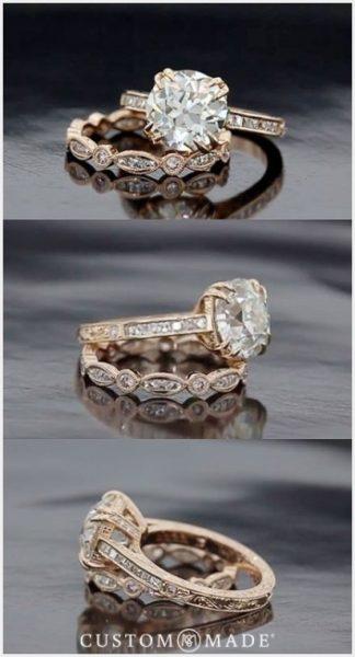 ピンクゴールドの結婚指輪と婚約指輪をオーダーメイドにてセットリングに。