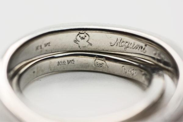 ねこと太陽を手彫りでデザインしたオーダーメイドのプラチナ結婚指輪の内側